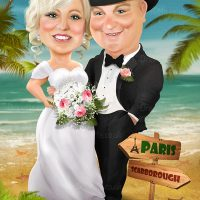 Beach Wedding Caricature