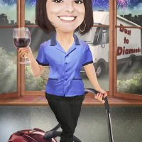 Cleaning Lady Caricature 22213